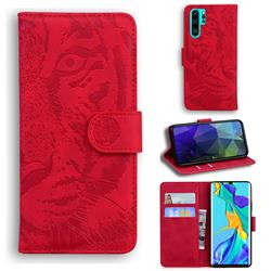 Intricate Embossing Tiger Face Leather Wallet Case for Huawei P30 Pro - Red
