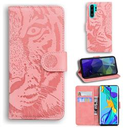 Intricate Embossing Tiger Face Leather Wallet Case for Huawei P30 Pro - Pink