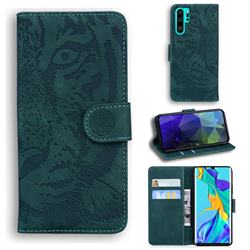 Intricate Embossing Tiger Face Leather Wallet Case for Huawei P30 Pro - Green