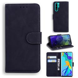 Retro Classic Skin Feel Leather Wallet Phone Case for Huawei P30 Pro - Black