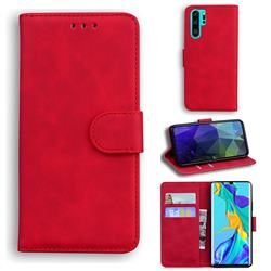 Retro Classic Skin Feel Leather Wallet Phone Case for Huawei P30 Pro - Red