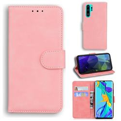 Retro Classic Skin Feel Leather Wallet Phone Case for Huawei P30 Pro - Pink