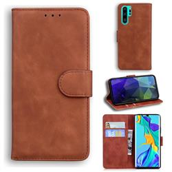 Retro Classic Skin Feel Leather Wallet Phone Case for Huawei P30 Pro - Brown