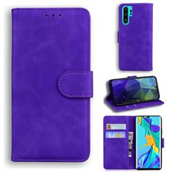 Retro Classic Skin Feel Leather Wallet Phone Case for Huawei P30 Pro - Purple