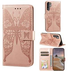 Intricate Embossing Rose Flower Butterfly Leather Wallet Case for Huawei P30 Pro - Rose Gold