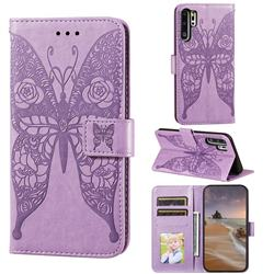 Intricate Embossing Rose Flower Butterfly Leather Wallet Case for Huawei P30 Pro - Purple