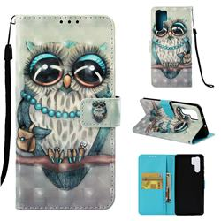 Sweet Gray Owl 3D Painted Leather Wallet Case for Huawei P30 Pro