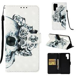 Skull Flower 3D Painted Leather Wallet Case for Huawei P30 Pro