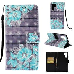 Blue Flower 3D Painted Leather Wallet Case for Huawei P30 Pro