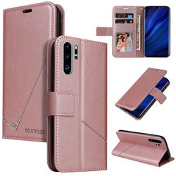 GQ.UTROBE Right Angle Silver Pendant Leather Wallet Phone Case for Huawei P30 Pro - Rose Gold