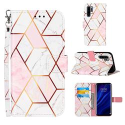 Pink White Stitching Color Marble Leather Wallet Case for Huawei P30 Pro