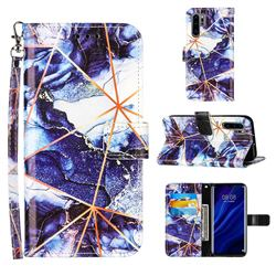 Starry Blue Stitching Color Marble Leather Wallet Case for Huawei P30 Pro