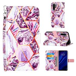 Dream Purple Stitching Color Marble Leather Wallet Case for Huawei P30 Pro