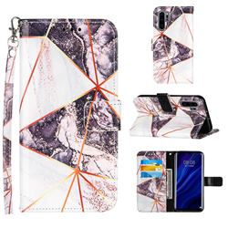Black and White Stitching Color Marble Leather Wallet Case for Huawei P30 Pro