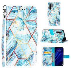 Lake Blue Stitching Color Marble Leather Wallet Case for Huawei P30 Pro