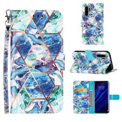 Green and Blue Stitching Color Marble Leather Wallet Case for Huawei P30 Pro