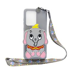 Gray Elephant Neck Lanyard Zipper Wallet Silicone Case for Huawei P40