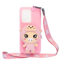 Pink Pig Neck Lanyard Zipper Wallet Silicone Case for Huawei P40