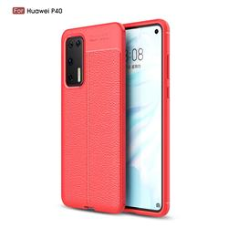 Luxury Auto Focus Litchi Texture Silicone TPU Back Cover for Huawei P40 - Red