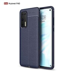 Luxury Auto Focus Litchi Texture Silicone TPU Back Cover for Huawei P40 - Dark Blue