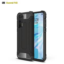 King Kong Armor Premium Shockproof Dual Layer Rugged Hard Cover for Huawei P40 - Black Gold