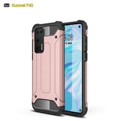 King Kong Armor Premium Shockproof Dual Layer Rugged Hard Cover for Huawei P40 - Rose Gold