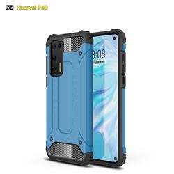 King Kong Armor Premium Shockproof Dual Layer Rugged Hard Cover for Huawei P40 - Sky Blue