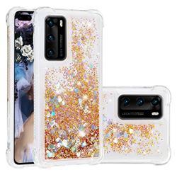 Dynamic Liquid Glitter Sand Quicksand Star TPU Case for Huawei P40 - Diamond Gold