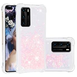 Dynamic Liquid Glitter Sand Quicksand TPU Case for Huawei P40 - Silver Powder Star