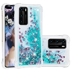 Dynamic Liquid Glitter Sand Quicksand TPU Case for Huawei P40 - Green Love Heart