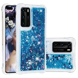 Dynamic Liquid Glitter Sand Quicksand TPU Case for Huawei P40 - Blue Love Heart