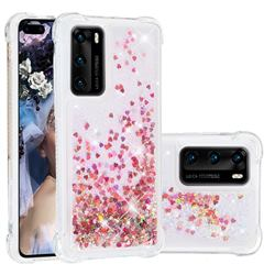Dynamic Liquid Glitter Sand Quicksand TPU Case for Huawei P40 - Rose Gold Love Heart