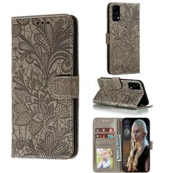 Intricate Embossing Lace Jasmine Flower Leather Wallet Case for Huawei P40 - Gray