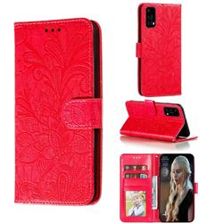 Intricate Embossing Lace Jasmine Flower Leather Wallet Case for Huawei P40 - Red
