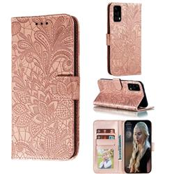 Intricate Embossing Lace Jasmine Flower Leather Wallet Case for Huawei P40 - Rose Gold