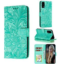 Intricate Embossing Lace Jasmine Flower Leather Wallet Case for Huawei P40 - Green