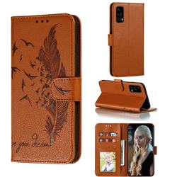 Intricate Embossing Lychee Feather Bird Leather Wallet Case for Huawei P40 - Brown