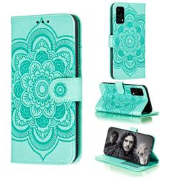 Intricate Embossing Datura Solar Leather Wallet Case for Huawei P40 - Green