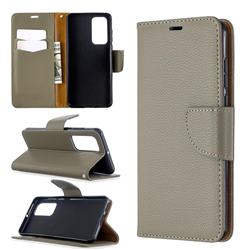 Classic Luxury Litchi Leather Phone Wallet Case for Huawei P40 - Gray