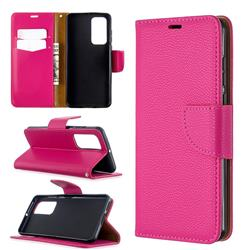Classic Luxury Litchi Leather Phone Wallet Case for Huawei P40 - Rose