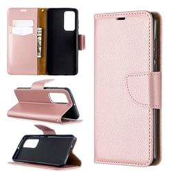 Classic Luxury Litchi Leather Phone Wallet Case for Huawei P40 - Golden
