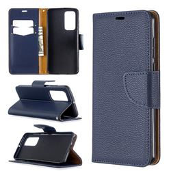 Classic Luxury Litchi Leather Phone Wallet Case for Huawei P40 - Blue