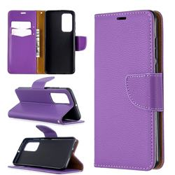Classic Luxury Litchi Leather Phone Wallet Case for Huawei P40 - Purple