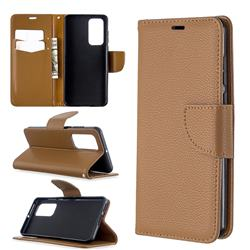 Classic Luxury Litchi Leather Phone Wallet Case for Huawei P40 - Brown