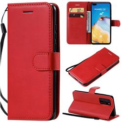 Retro Greek Classic Smooth PU Leather Wallet Phone Case for Huawei P40 - Red