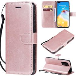 Retro Greek Classic Smooth PU Leather Wallet Phone Case for Huawei P40 - Rose Gold