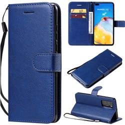 Retro Greek Classic Smooth PU Leather Wallet Phone Case for Huawei P40 - Blue