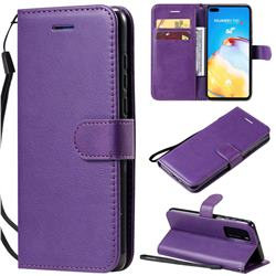 Retro Greek Classic Smooth PU Leather Wallet Phone Case for Huawei P40 - Purple