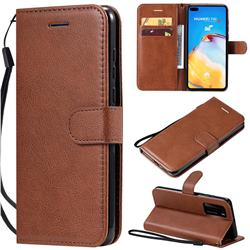 Retro Greek Classic Smooth PU Leather Wallet Phone Case for Huawei P40 - Brown