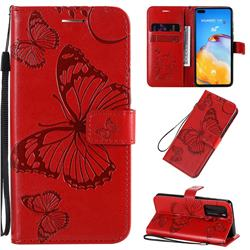 Embossing 3D Butterfly Leather Wallet Case for Huawei P40 - Red